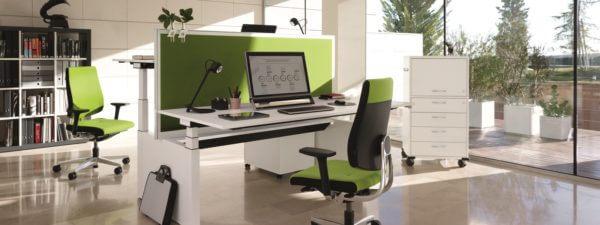 Sedus Temptation Twin duo zit sta bureau in het wit met groen