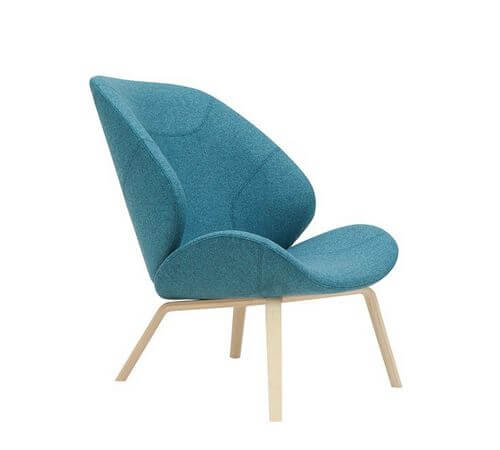 Fauteuil Softline Eden in aqua stoffering
