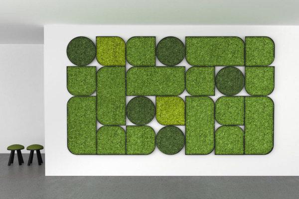 Moswand, verschillende vormen, groentinten