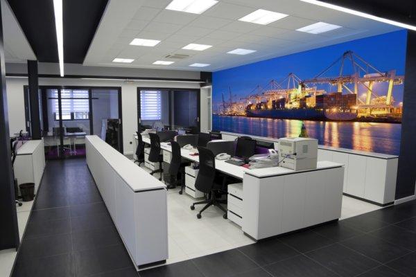 werkplekken, bureaustoelen, ladenblokken, wandbekleding, afbeelding.