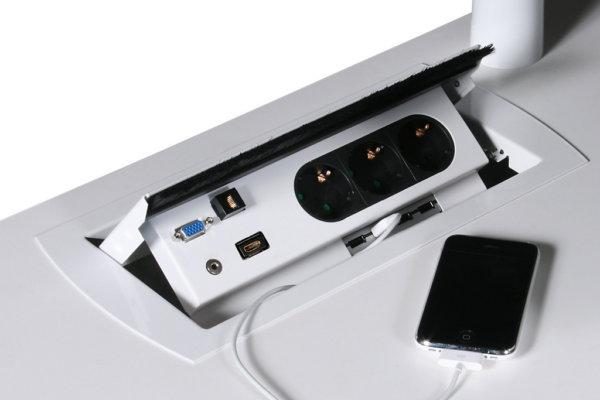 bureau, mediabox, telefoon, oplaadpunt, stroompunt, usb aansluiting.