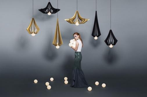 Perla hanglampen in zwart en goud