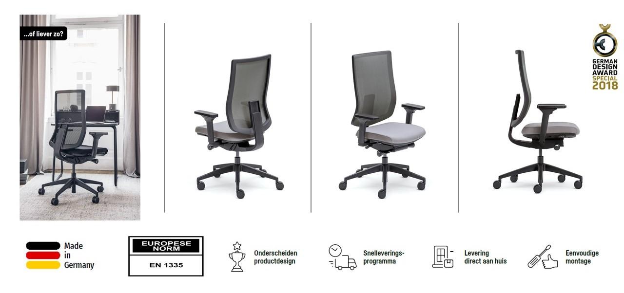 Ergonomische bureaustoel ERGO PRO met zijn kenmerken